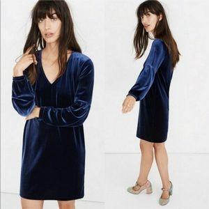 NEW Madewell Navy Blue Velvet Balloon Sleeve Dress